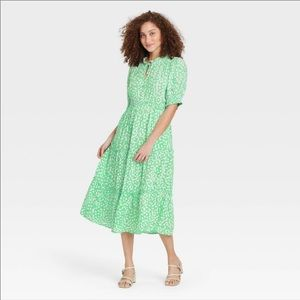 Who What Wear Floral Green Midi Dress